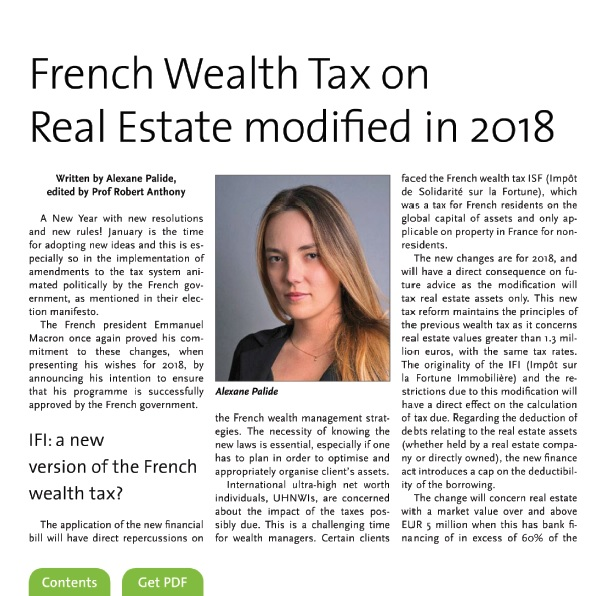 French wealth tax on real estate modified in 2018