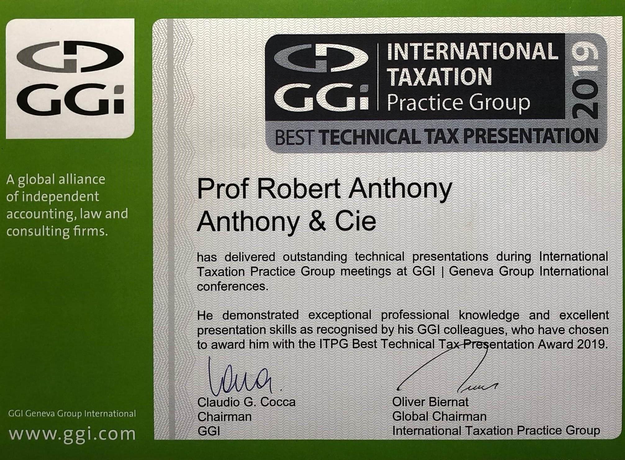GGI Best Technical Tax Presentation 2019